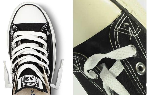 Giày Converse Chuck Taylor All Star xịn (trái) với đường may đều tăm tắp và giày fake (phải) với đường may lộn xộn, ngắt quãng