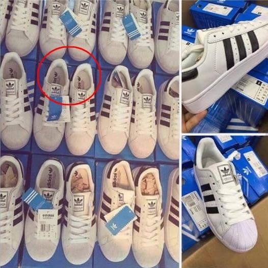 Giày fake có tên hãng in cùng chiều ở cả hai chiếc giày.