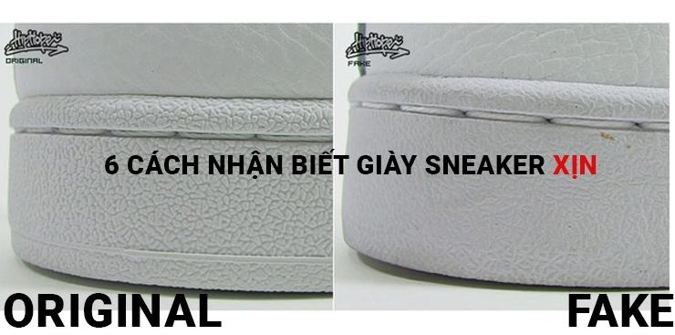 Đường chỉ khâu ở phần đế của giày xịn (trái) đều đặn và ngay ngắn hơn hẳn giày fake (phải).