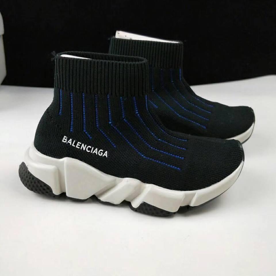 Giày Balenciaga cao cổ kẻ sọc xanh BA004