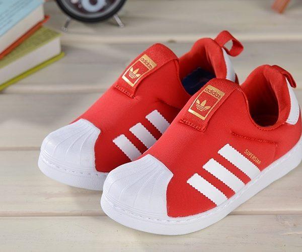 Baby Kids Adidas Superstar Slip On Red