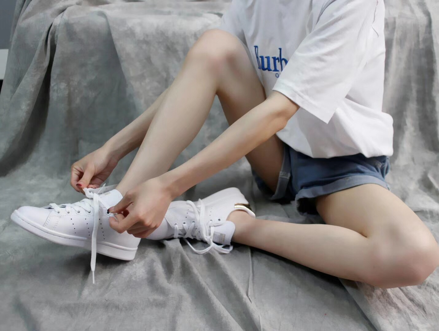Giày Adidas Stan Smith Trắng gót vàng bóng