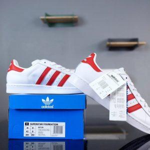 Giày Adidas Super Star Trắng vạch đỏ