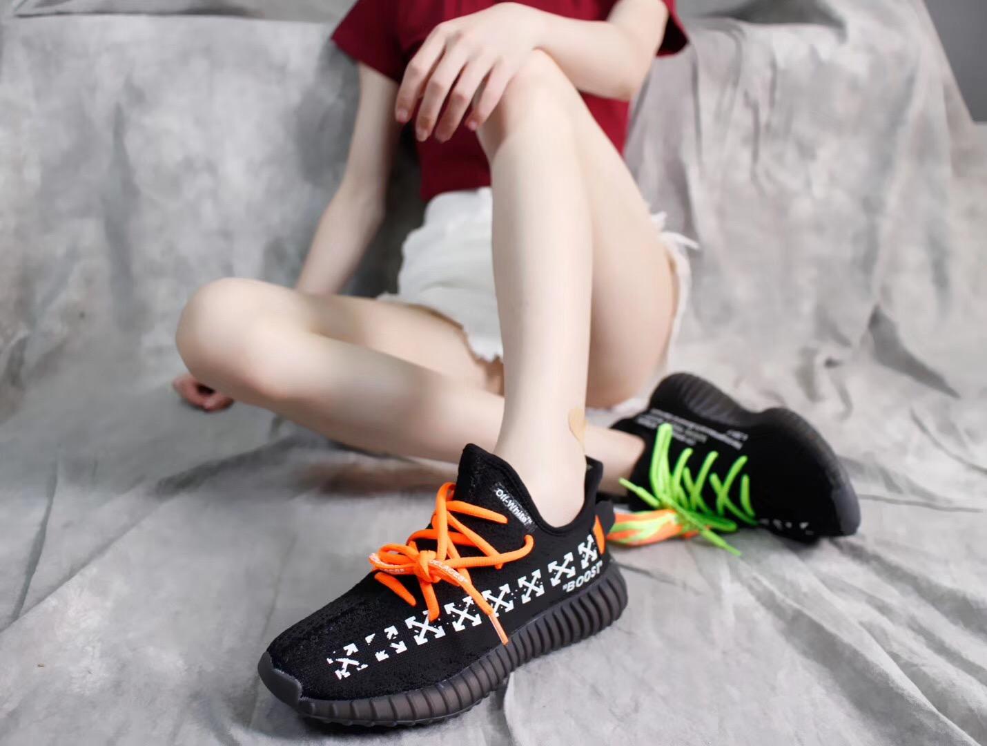 Giày Adidas Yeezy Boots V2 màu đen sọc trắng off-white