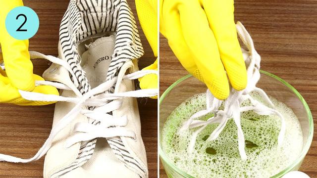 #10.Giặt dây cột giày như mới bằng kem đánh răng