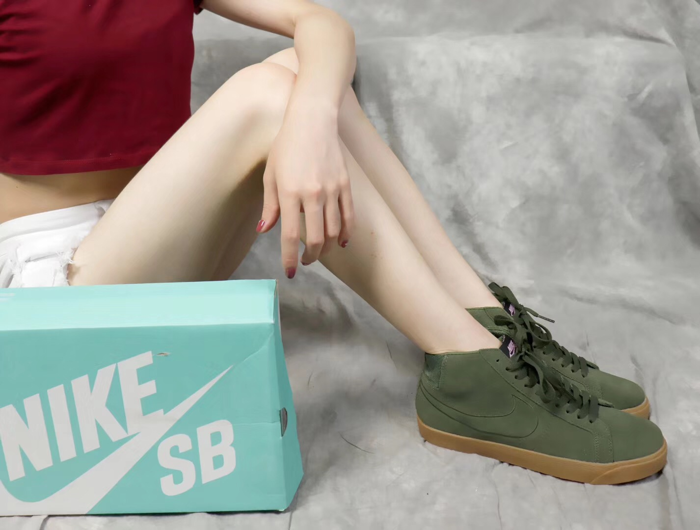 Giày nike nữ SB màu xanh rêu