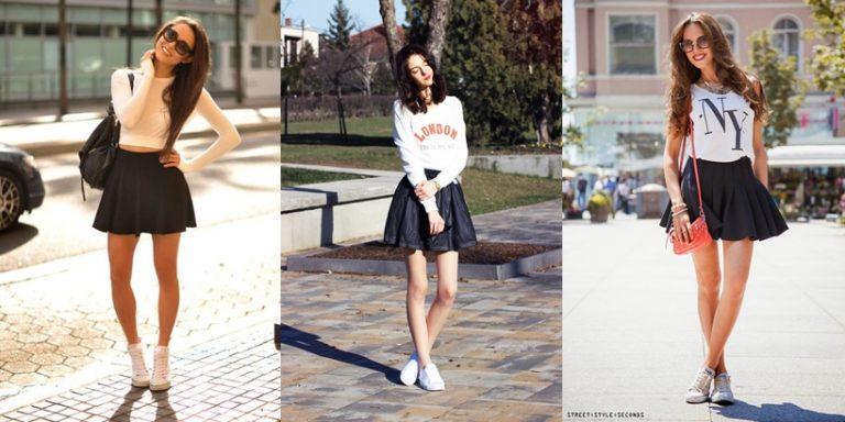 Chân váy ngắn với giày thể thao