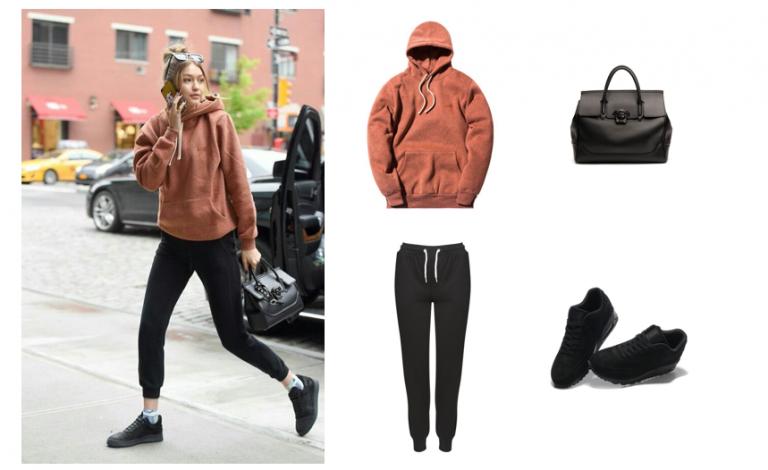 Phối giày thể thao với áo hoodie