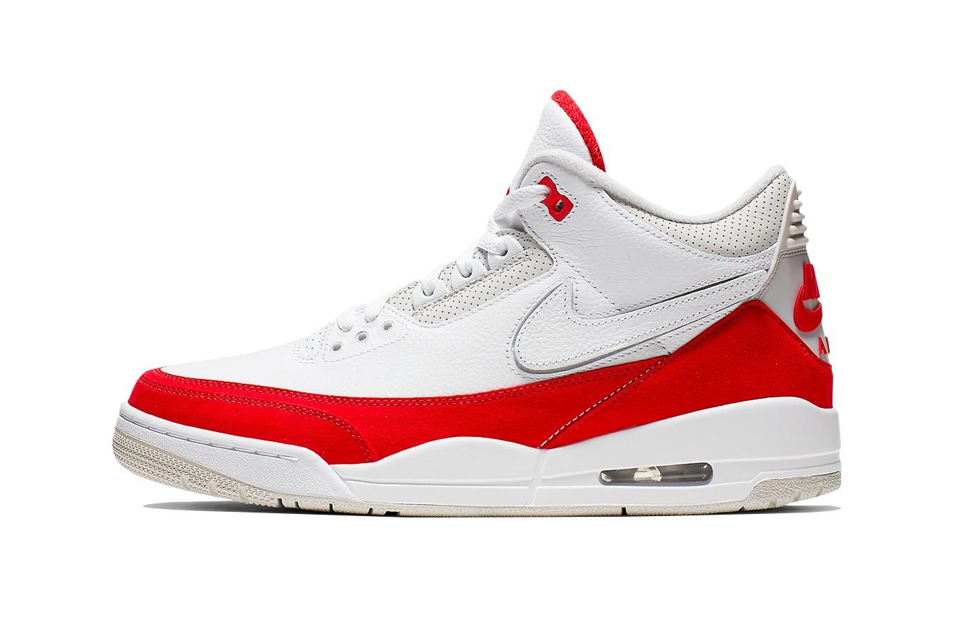 """Air Jordan 3 Tinker """"White/University Red"""" độc đáo với dấu swoosh có thể tháo rời"""