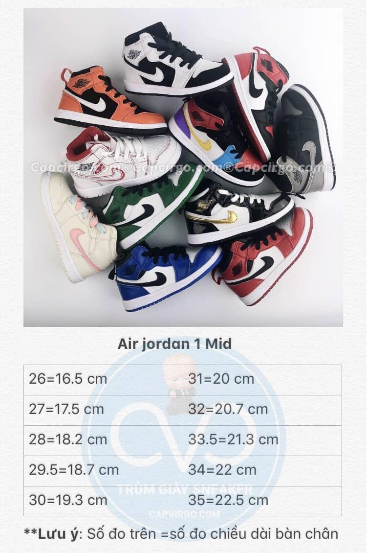 Bảng size giày Nike air jordan 1 Mid