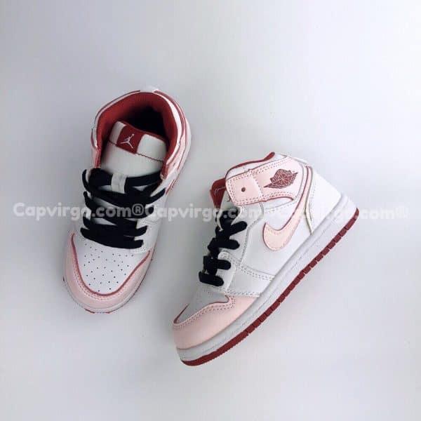Giày trẻ em Air Jordan 1 Mid màu trắng hồng