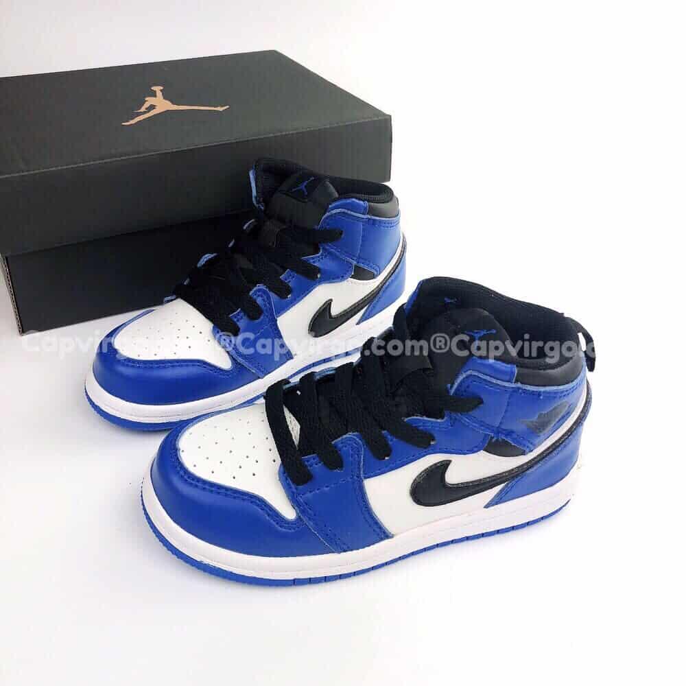 Giày trẻ em Air Jordan 1 Mid màu xanh trắng
