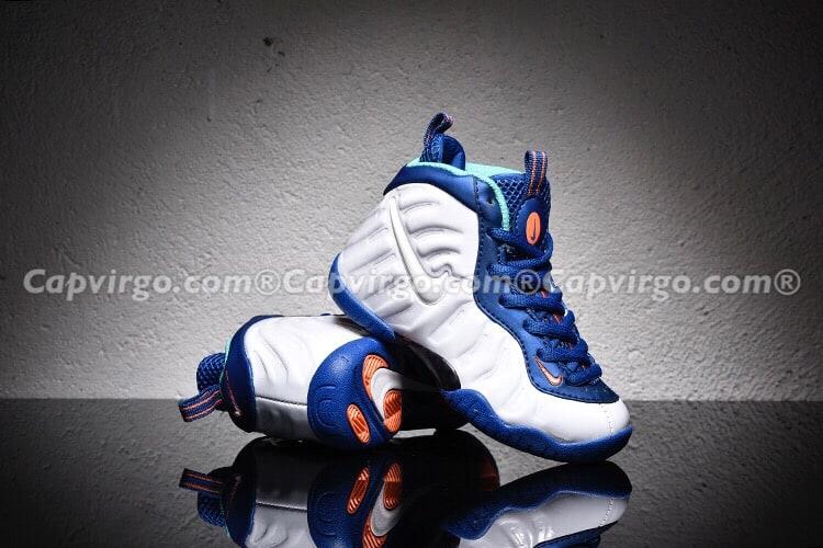 Giày trẻ em Air Foamposite Pro trắng xanh