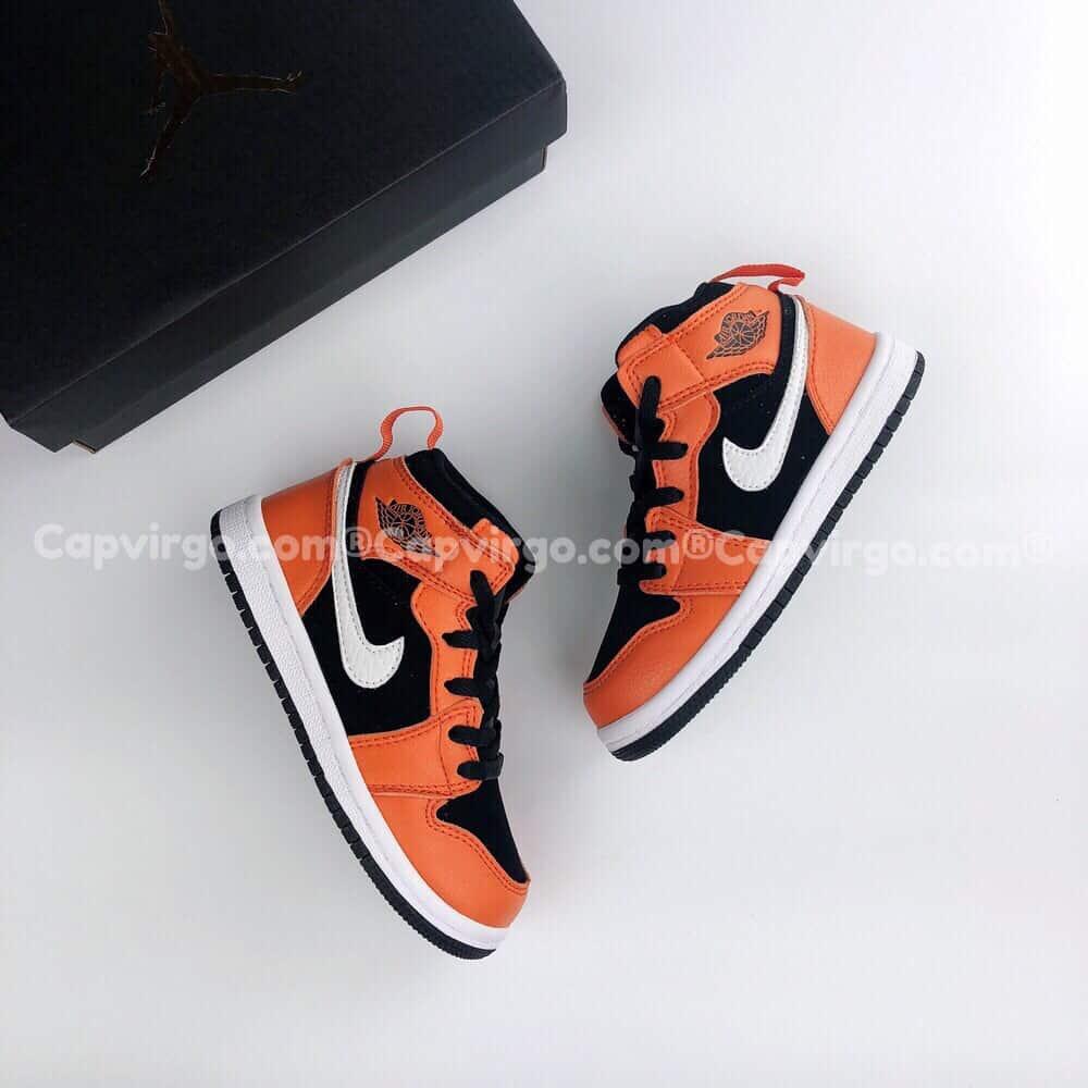 Giày trẻ em Air Jordan 1 Mid màu cam đen