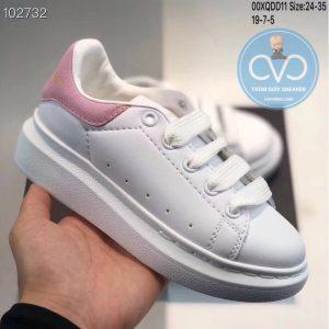 Giày trẻ em Alexander mcqueen trắng gót hồng