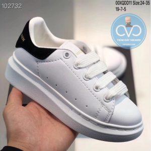 Giày trẻ em Alexander mcqueen trắng gót đen