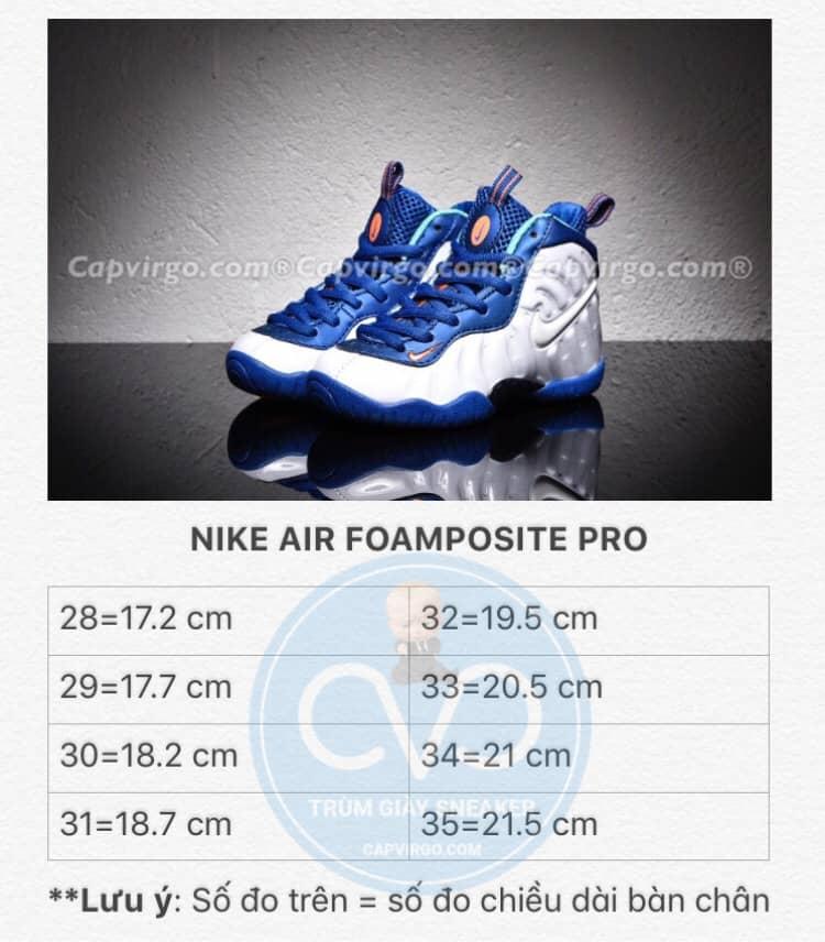 Bảng size giày trẻ em Air Foamposite Pro