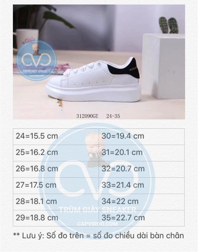Bảng size giày Alexander mcqueen