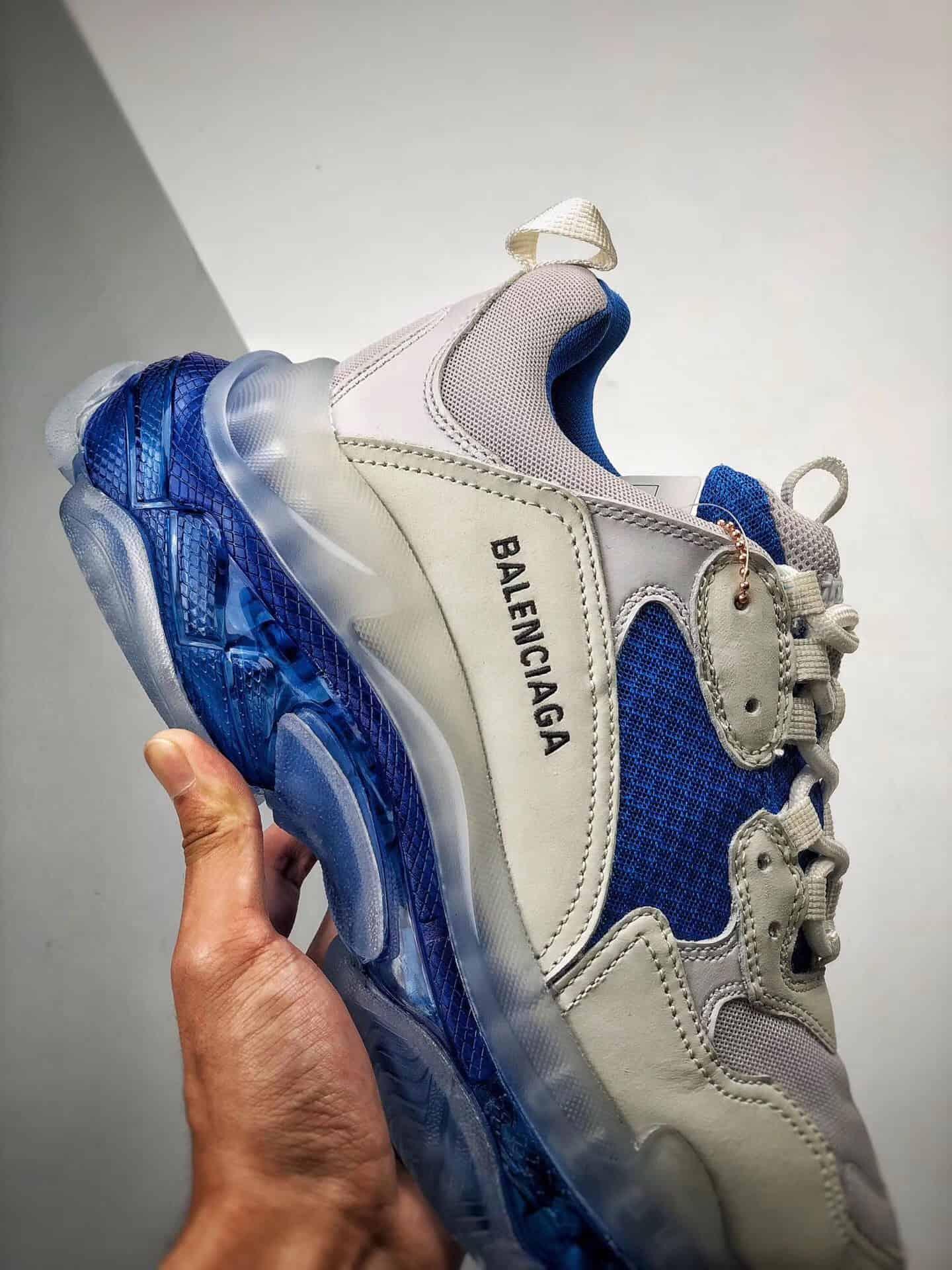 Giày Balenciaga Triple S đế trong màu xanh bản cao cấp