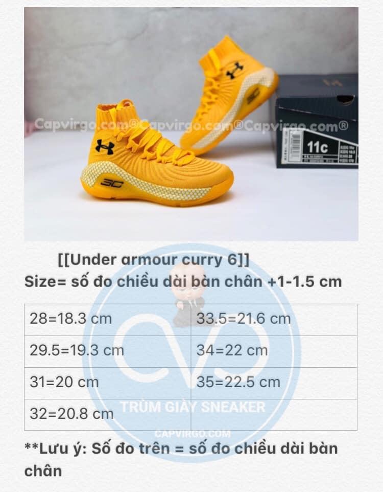 Bảng size giày trẻ em Under Armour Curry 6