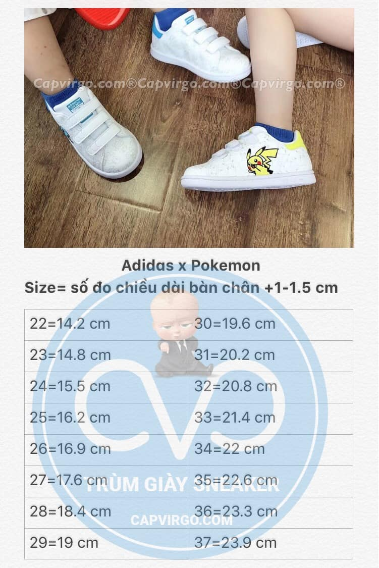 Bảng size giày trẻ em Adidas x Pokemon