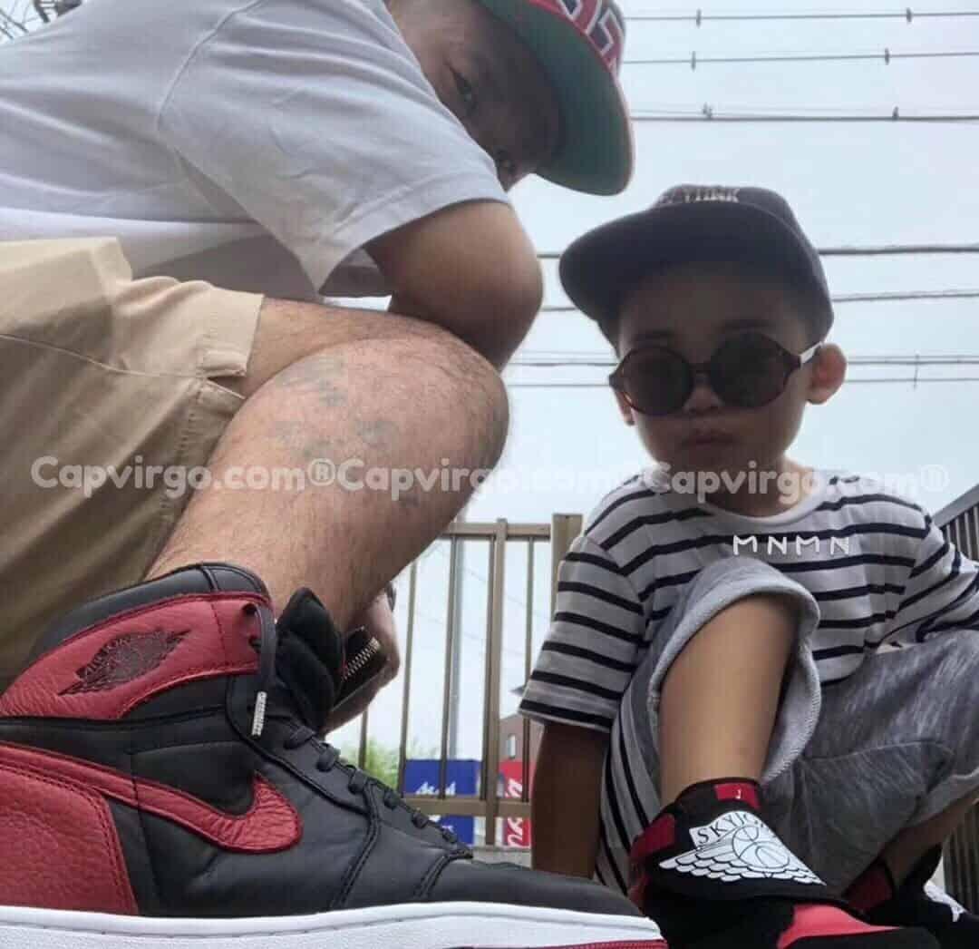 Giày trẻ em Sky Jordan 1 màu đỏ