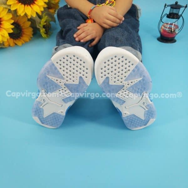 Giày air Jordan 6 trẻ em màu trắng xanh