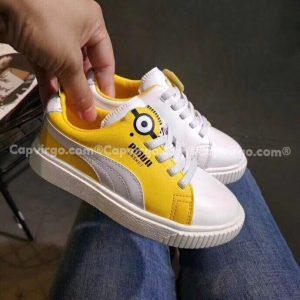 Giày Puma minions trẻ em màu trắng vàng