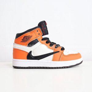 Giày trẻ em Air Jordan 1 Mid màu cam trắng