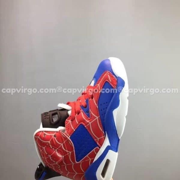 """Giày trẻ em Air Jordan 6 """"Spider-Man"""" màu xanh đỏ"""