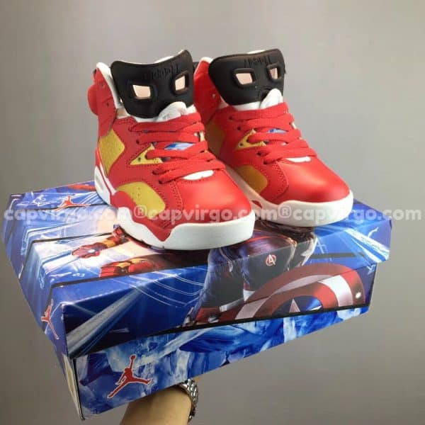 """Giày trẻ em Air Jordan 6 """"Iron Man"""" đỏ vàng"""