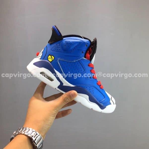"""Giày trẻ em Air Jordan 6 """"Doraemon"""" xanh trắng"""