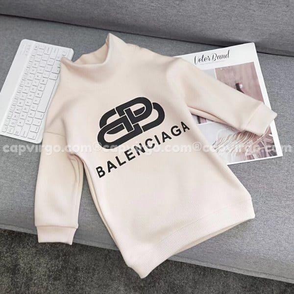 Áo trẻ em Balenciaga dài tay màu trắng sữa
