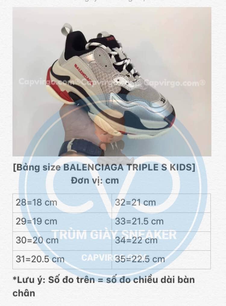 Bảng size giày Balenciaga Triple S trẻ em