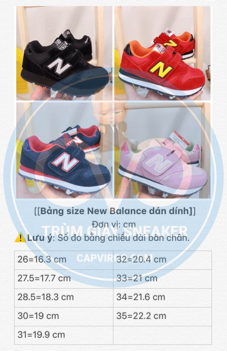 Bảng size giày trẻ em New Balance dán dính