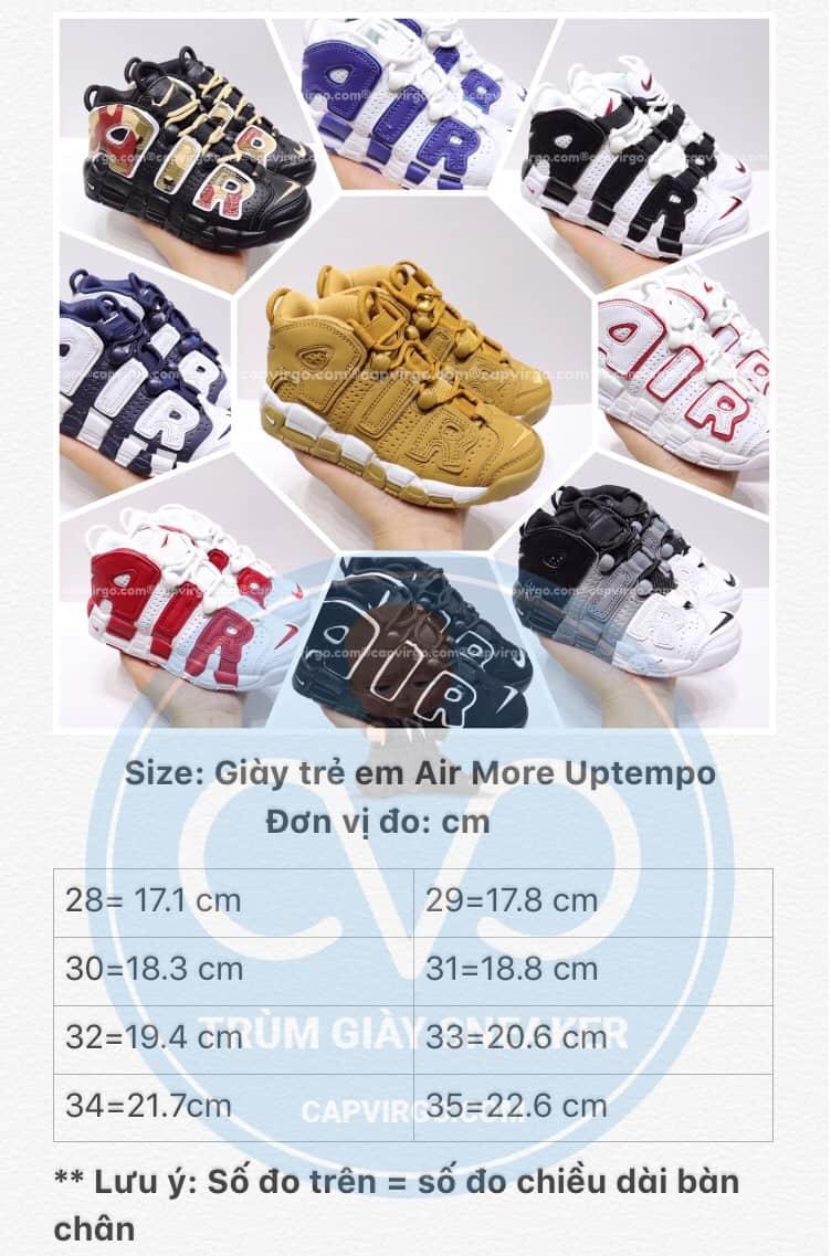 Bảng size giày trẻ em Nike Air More Uptempo