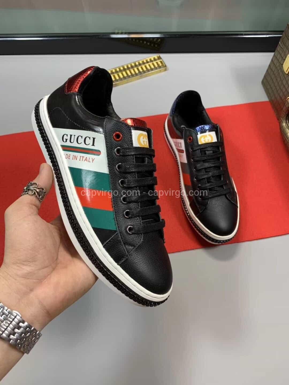 Giày gucci màu đen phối 3 màu