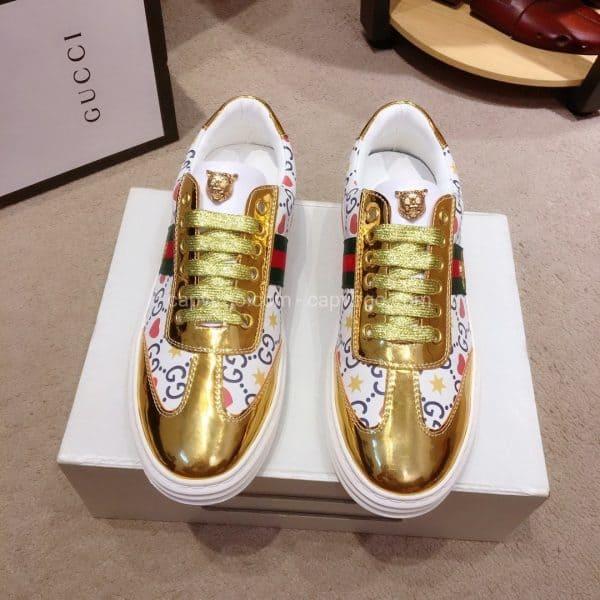 Giày gucci ong mặt gấu màu vàng bóng