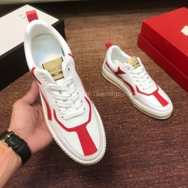 Giày gucci màu trắng viền đỏ họa tiết khóa