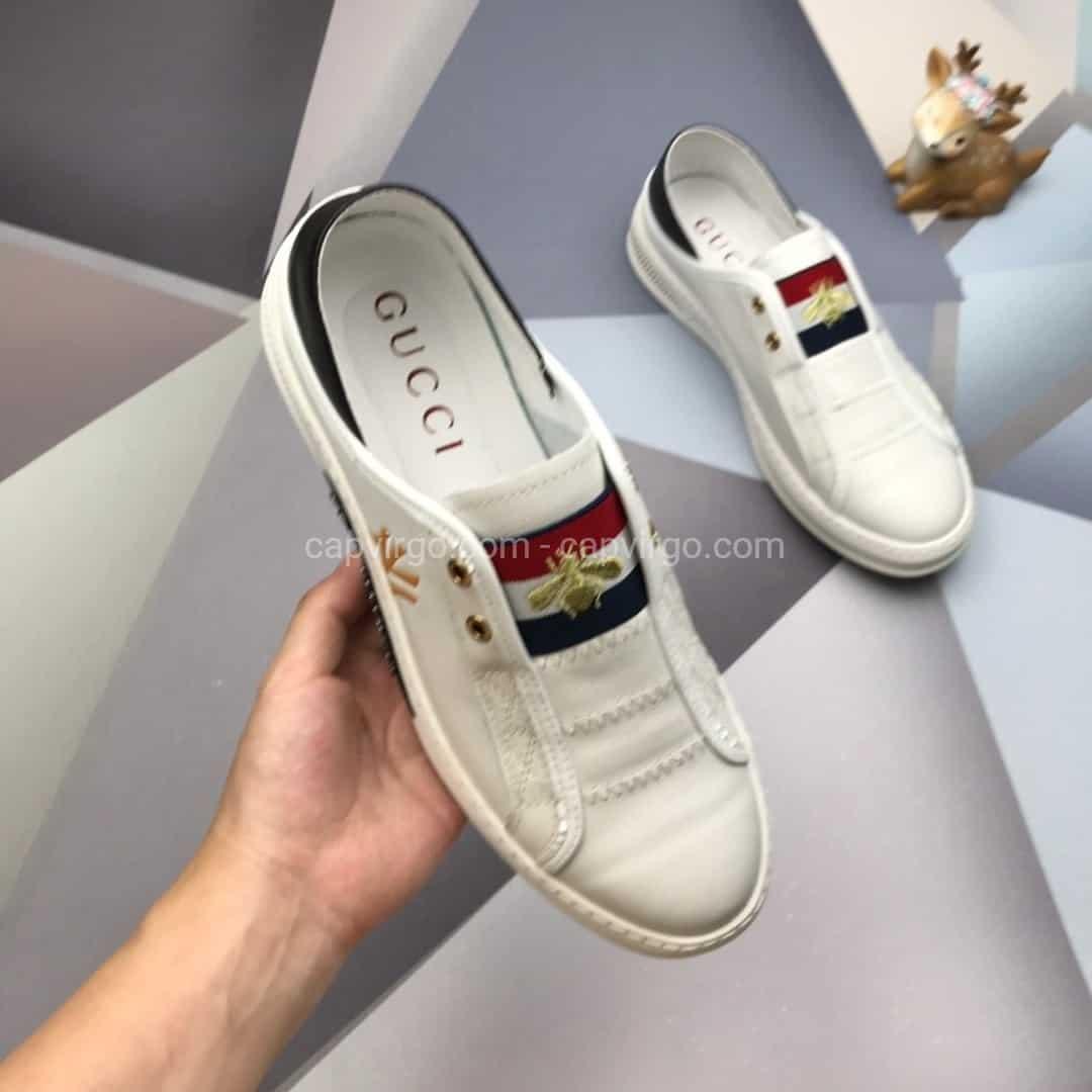 giày gucci ong màu trắng gót đen ny 5g