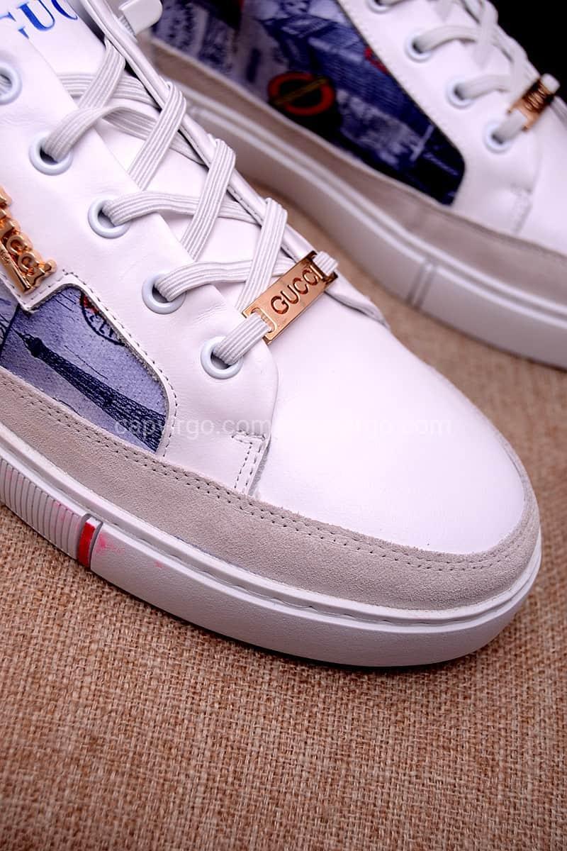 Giày gucci màu trắng bức tranh nữ thần tự do