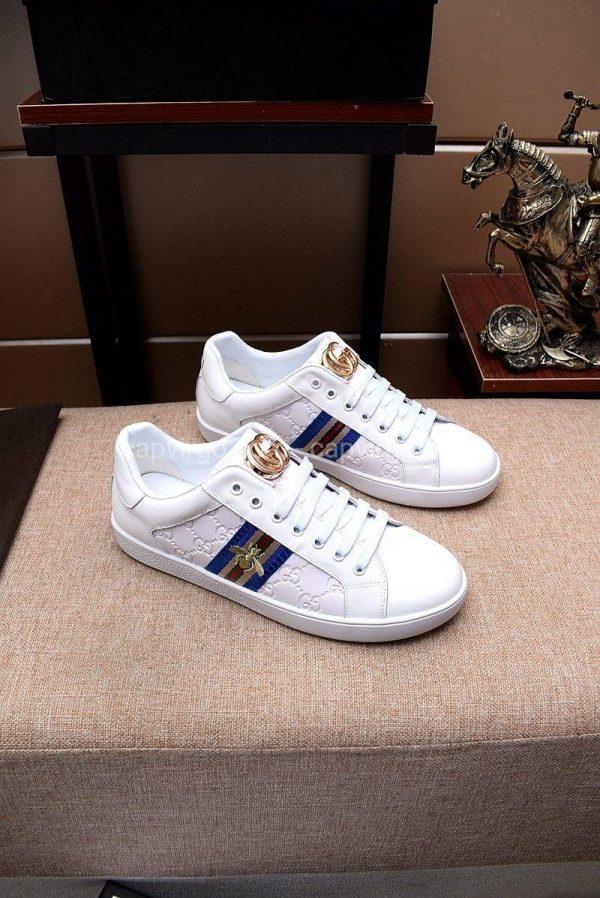 Giày gucci ong full trắng vạch xanh 3 màu