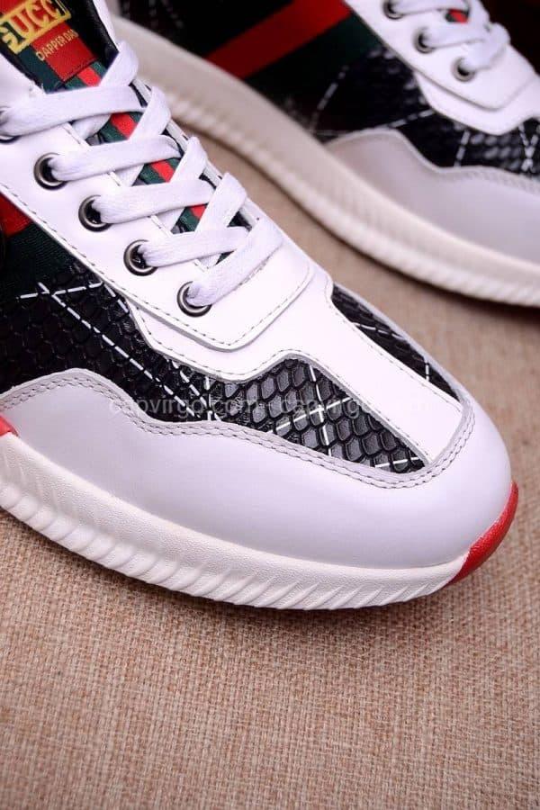 Giày gucci màu trắng đen vân vẩy rắn
