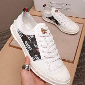 Giày gucci trắng lưng màu ghi logo ong vàng