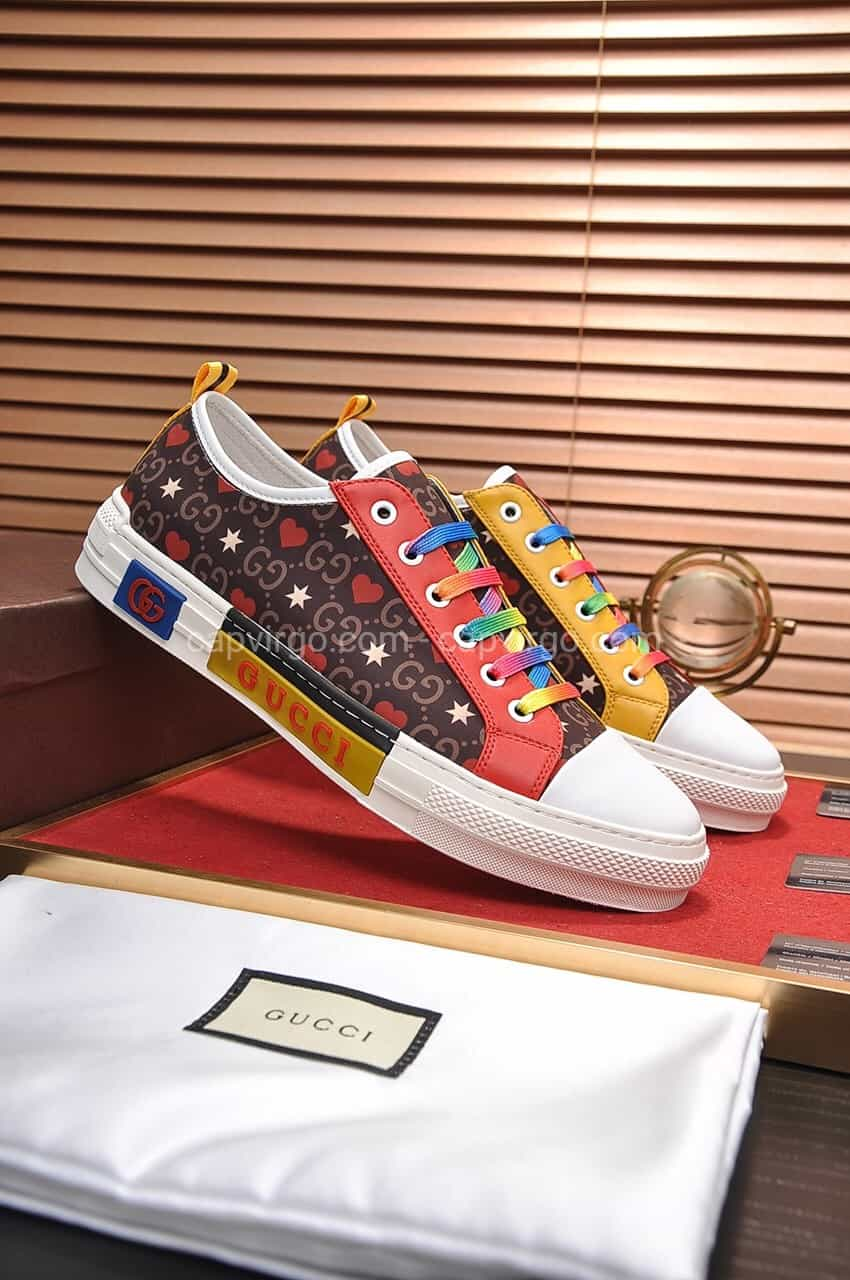 Giày gucci màu nâu phiên bản dây 2 màu