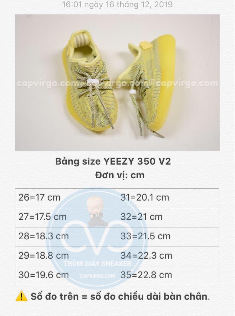 Bảng size giày trẻ em Yeezy 350 v2