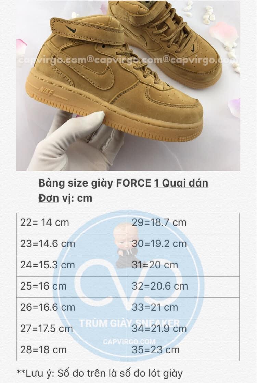 Bảng size giày trẻ em nike Force 1