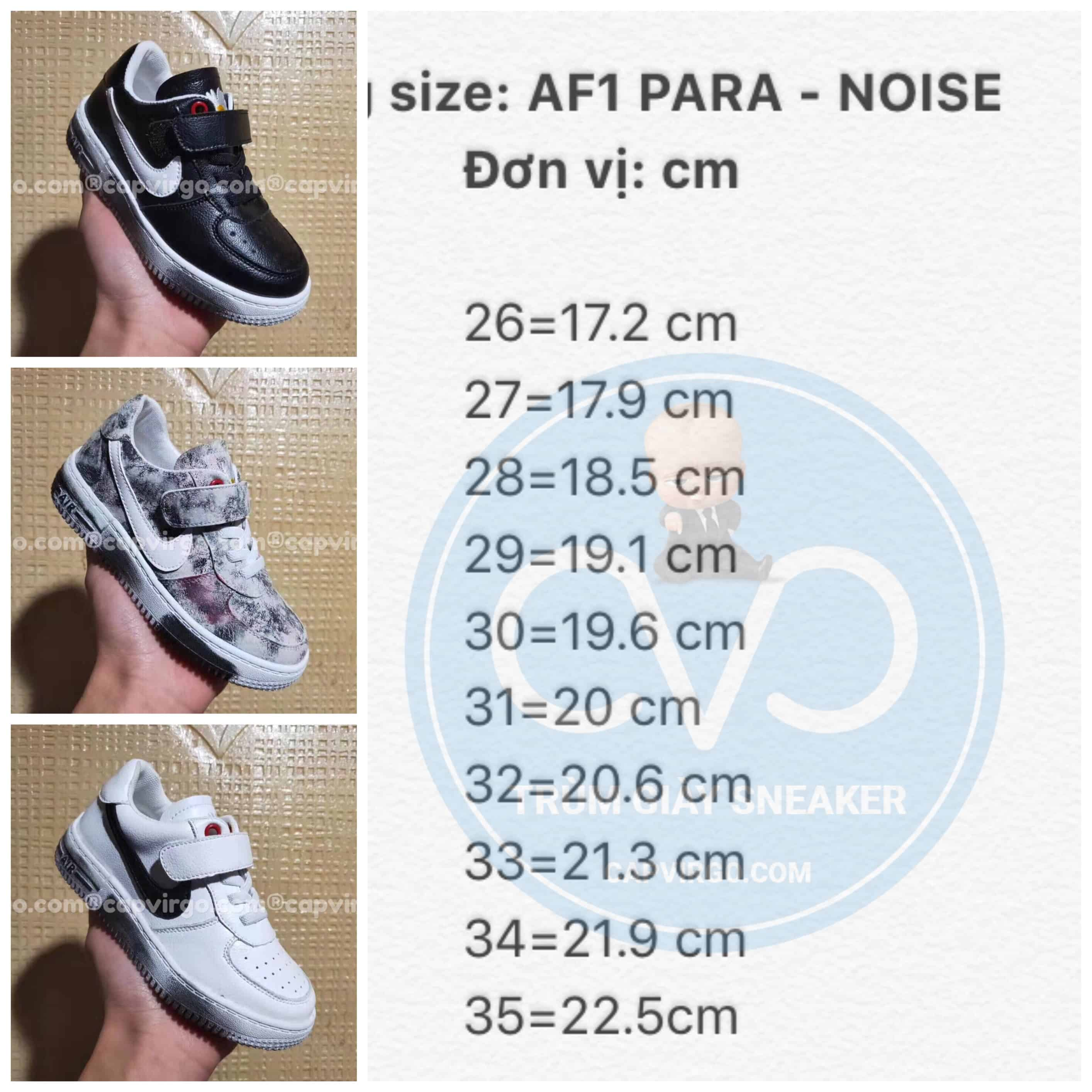 Bảng size giày trẻ em nike Air Force Para Noise