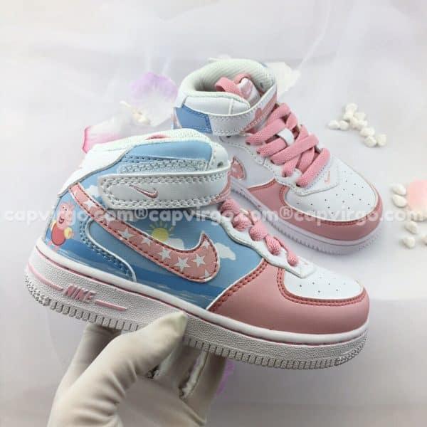 Giày trẻ em nike Force 1 xanh hồng