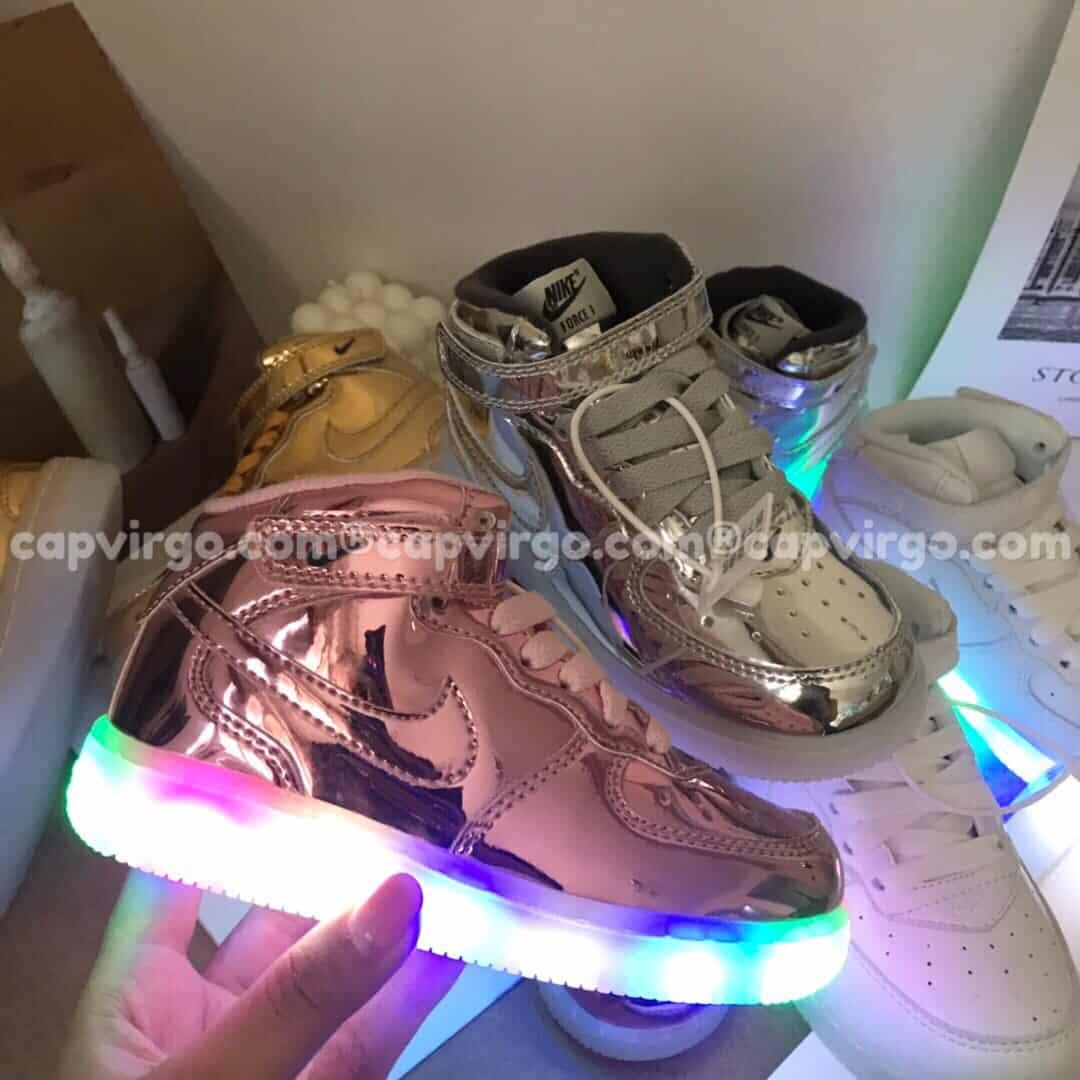 Giày trẻ em nike Force 1 đế đèn màu hồng